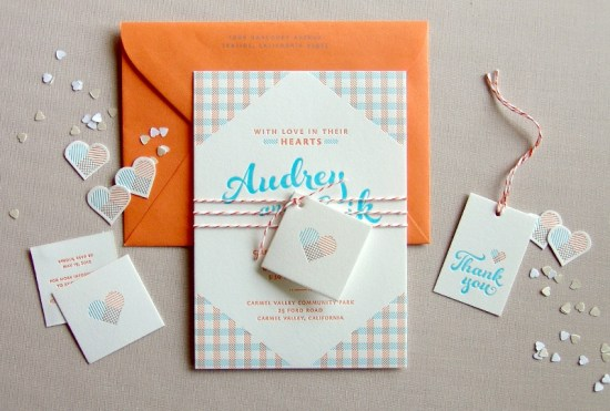 Orange Blue Letterpress Overprint Wedding Invitations Studio SloMo 550x371 Audrey + Eriks Gingham Letterpress Overprint Wedding Invitations