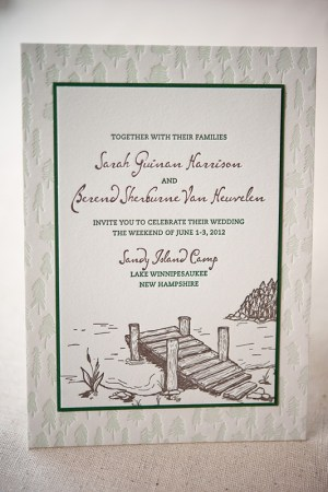 Summer Camp Wedding Invitations Gus Ruby Letterpress3 300x450 Sarah + Bens Summer Camp Inspired Wedding Invitations