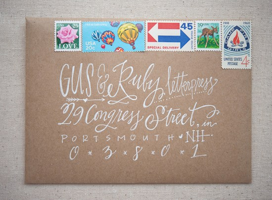 Summer Camp Wedding Invitations Gus Ruby Letterpress7 550x404 Sarah + Bens Summer Camp Inspired Wedding Invitations