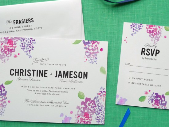 Watercolor Wedding Invitation Collection Fine Day Press4 550x412 Watercolor Wedding Invitations from Fine Day Press