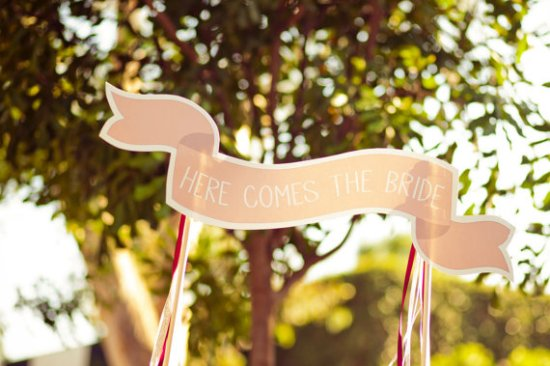 Here Comes the Bride Banner Ready Go Sarah Kathleen 550x366 Wedding Stationery Inspiration: Here Comes the Bride Signs