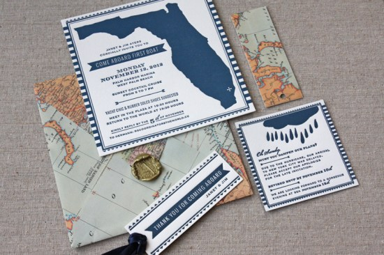 Nautical Letterpress Map Party Invitations Tenn Hens Design2 550x366 Janets Nautical Vintage Map Party Invitations