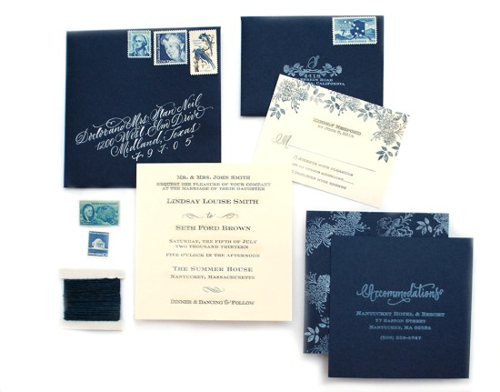 indigo final21 550x431 DIY Tutorial: Indigo Floral Print Wedding Invitations
