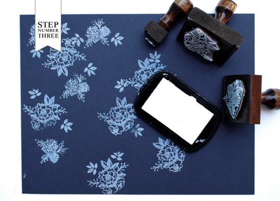 step31 550x396 DIY Tutorial: Indigo Floral Print Wedding Invitations