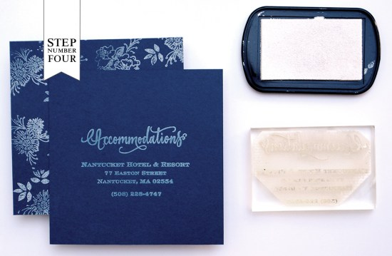 step4 550x359 DIY Tutorial: Indigo Floral Print Wedding Invitations