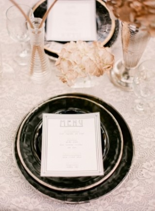 Art Deco Wedding Menu Peplum Events and Design Michelle March Wedding Stationery Inspiration: Art Deco