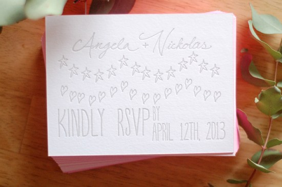 Illustrated Pink Edge Painted Letterpress Wedding Invitations Darling Press2 550x365 Nickolas + Angelas Neon Pink Illustrated Wedding Invitations