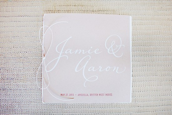 Modern Romantic Destination Wedding Invitations Made by Kara Program 550x369 Jamie + Aarons Modern Romantic Destination Wedding Invitations