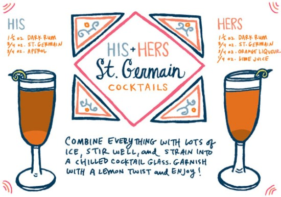 OSBP Signature Cocktail Recipe Card His Hers Caitlin Keegan Illustration 550x386 Friday Happy Hour: His and Hers St Germain Cocktails