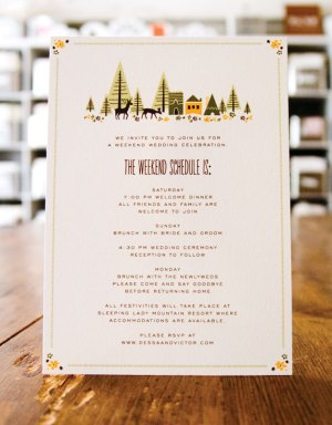 Wedding Weekend Schedule Anna Hurley 300x383 Wedding Stationery Inspiration: Day of Itineraries