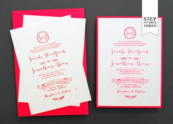 step3 550x394 DIY Tutorial: Neon + Kraft Paper Wedding Invitations