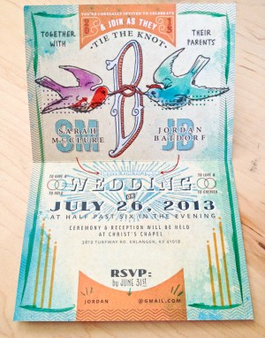 Concert Poster Wedding Invitations Austin Dunbar 300x382 Sarah + Jordans Illustrated Show Bill Wedding Invitations