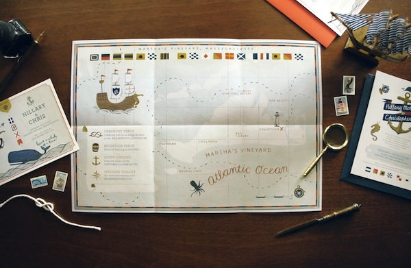 Nautical Wedding Invitation Map Quill and Fox Hillary + Chriss Illustrated Nautical Wedding Invitations