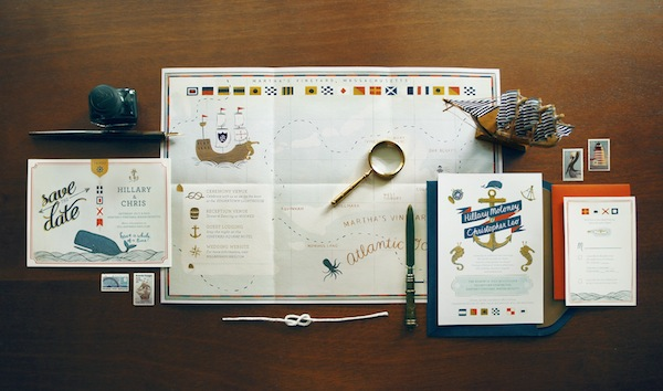 Nautical Wedding Invitation Quill and Fox2 Hillary + Chriss Illustrated Nautical Wedding Invitations