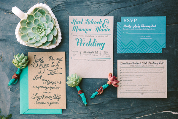 Teal Chipboard Chevron Stripe Letterpress Wedding Invitations Metal Doily Press Monique + Karls Teal and Chipboard Letterpress Wedding Invitations