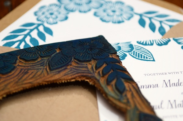 Blue Floral Block Printed Wedding Invitations Katharine Watson6 Emma + Pauls Floral Block Printed Wedding Invitations