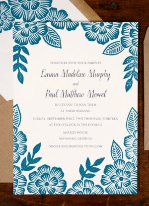 Blue Floral Block Printed Wedding Invitations Katharine Watson7 300x415 Emma + Pauls Floral Block Printed Wedding Invitations