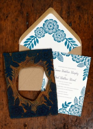 Blue Floral Block Printed Wedding Invitations Katharine Watson8 300x415 Emma + Pauls Floral Block Printed Wedding Invitations
