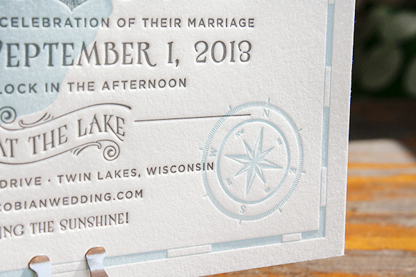 Lakeside Wisconsin Letterpress Wedding Invitations Lucky Luxe4 Katy + Dans Lakeside Wisconsin Wedding Invitations