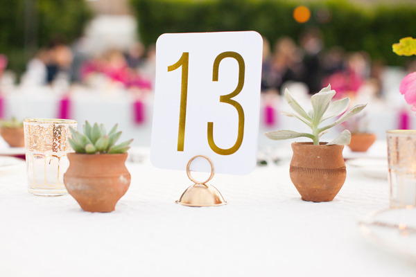 Mid Century Gold Leaf Table Numbers Bella Figura Birds of a Feather Wedding Stationery Inspiration: Palm Springs