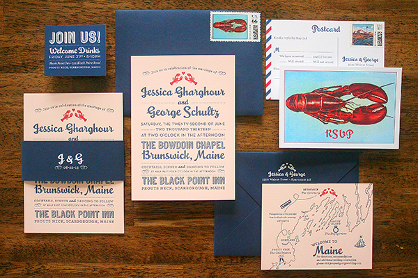 Travel Inspired Maine Wedding Invitations Parrott Design Studio Jessica + Georges Travel Inspired Maine Wedding Invitations