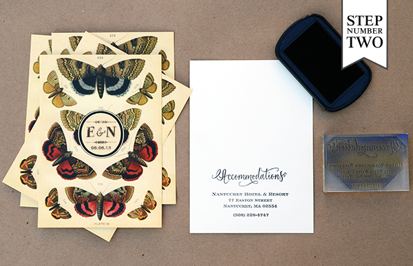ButterflyHandKerchief Step2 DIY Tutorial: Rubber Stamp Butterfly Handkerchief Wedding Invitations