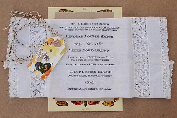 ButterflyHandkerchief Detail 2 DIY Tutorial: Rubber Stamp Butterfly Handkerchief Wedding Invitations