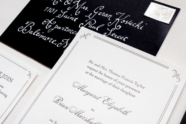 Elegant Formal Black White Letterpress Wedding Invitations3 Margaret + Brians Elegant Formal Wedding Invitations