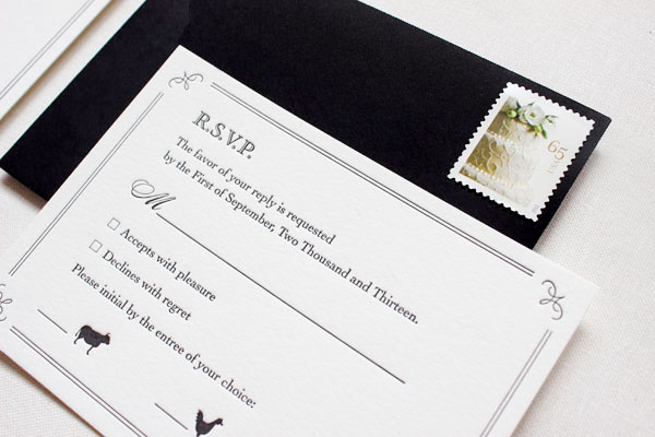 Elegant Formal Black White Letterpress Wedding Invitations5 Margaret + Brians Elegant Formal Wedding Invitations