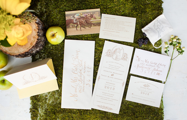 Kentucky Derby Wedding Invitations and Calligraphy Kara Anne Paper and Lettering Equestrian Wedding Invitation + Calligraphy Inspiration