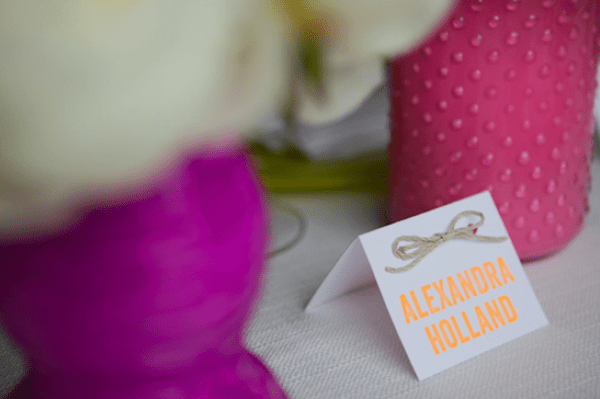 Neon Escort Cards Aerielist Press A Girl and A Camera Wedding Stationery Inspiration: Neon