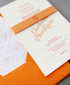 Ombre Letterpress Wedding Invitations Thomas Printers3b 300x360 Charles + Merrills Ombre Letterpress Wedding Invitations
