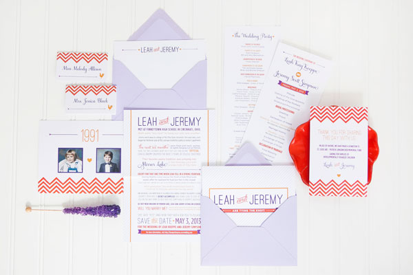 Orange Purple Chevron Stripe Wedding Invitations Ten Four Paper3 Leah + Jeremys Modern Chevron Stripe Wedding Invitations