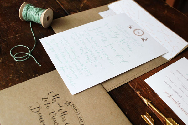Calligraphy Farmette Wedding Invitations La Happy5 Molly + Jeffs Rustic Calligraphy Wedding Invitations