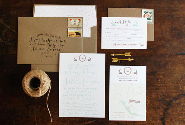 Calligraphy Farmette Wedding Invitations La Happy6 Molly + Jeffs Rustic Calligraphy Wedding Invitations
