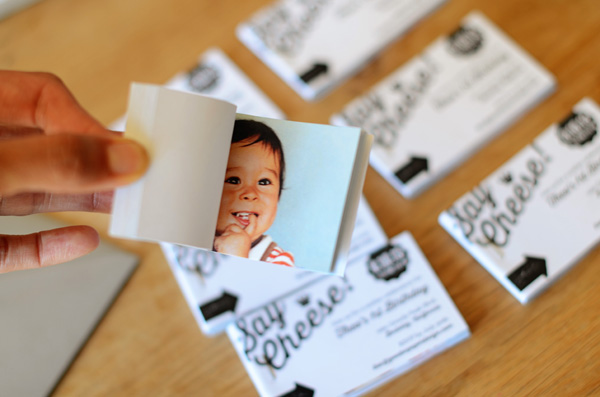 Flipbook First Birthday Party Invitations Good on Paper4 Theos Mini Flip Book First Birthday Party Invitations