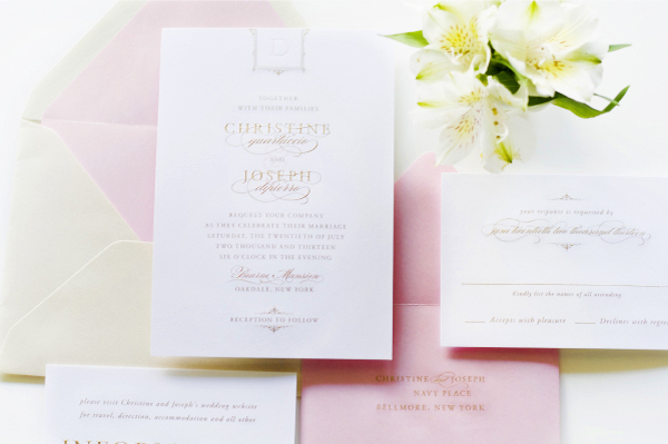 Glam Gold Engraved Pink Letterpress Wedding Invitations Sincerely Jackie2 Christine + Josephs Classic Pink and Gold Engraved Wedding Invitations