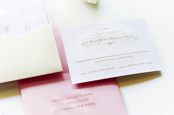 Glam Gold Engraved Pink Letterpress Wedding Invitations Sincerely Jackie9 Christine + Josephs Classic Pink and Gold Engraved Wedding Invitations