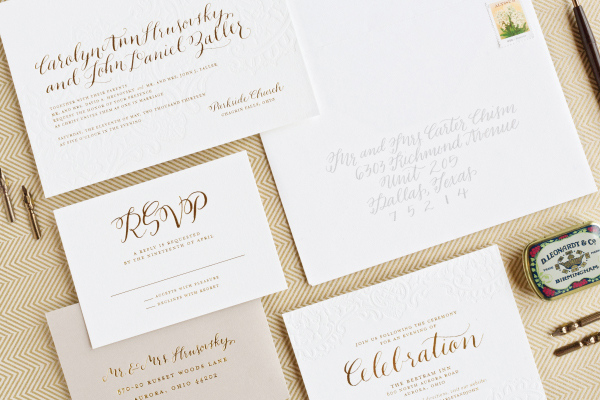 Gold Foil Calligraphy Wedding Invitations Lauren Chism Fine Papers Carley + Johns Gold Foil and Calligraphy Wedding Invitations