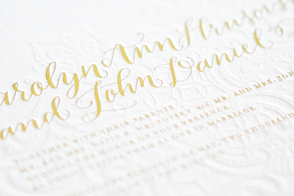 Gold Foil Calligraphy Wedding Invitations Lauren Chism Fine Papers3 Carley + Johns Gold Foil and Calligraphy Wedding Invitations