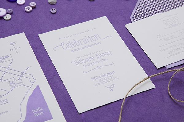 Purple Ombre Letterpress Wedding Invitations Cristina Pandol9 Jessica + Scotts Purple Ombre Letterpress Wedding Invitations