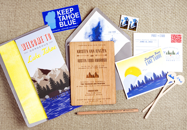 Wood Lake Tahoe Wedding Invitations Swiss Cottage Designs Kristen + Austins 1950s Inspired Lake Tahoe Wedding Invitations