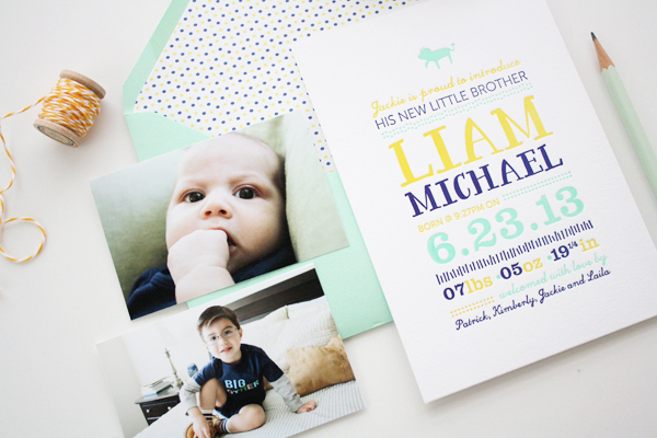 Colorful Baby Boy Birth Announcement Honizukle6 Liams Colorful Letterpress Birth Announcements