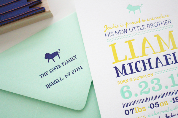 Colorful Baby Boy Birth Announcement Honizukle71 Liams Colorful Letterpress Birth Announcements