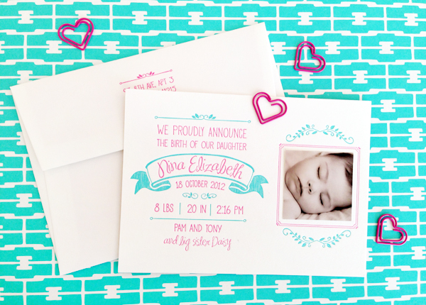 Hot Pink Aqua Letterpress Birth Announcements Noteworthy Paper and Press3 Ninas Colorful Hot Pink + Turquoise Birth Announcements