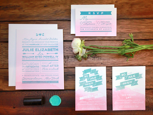Pink Aqua Ombre Wedding Invitations And Here We Are2 Julie + Bos Hand Painted Wedding Invitations