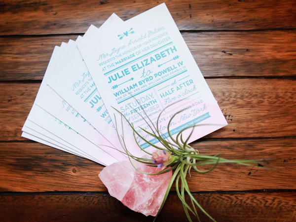 Pink Aqua Ombre Wedding Invitations And Here We Are6 Julie + Bos Hand Painted Wedding Invitations