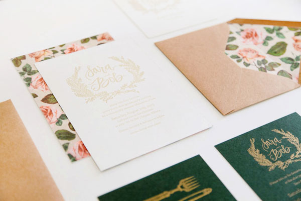 Floral Calligraphy Romantic Wedding Invitations AllieRuth Design Sara + Bobs Romantic Floral Wedding Invitations