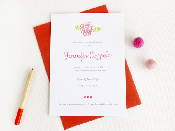 Floral Letterpress Bridal Shower Invitations Rafftruck Designs Jennifers Floral Letterpress Bridal Shower Invitations