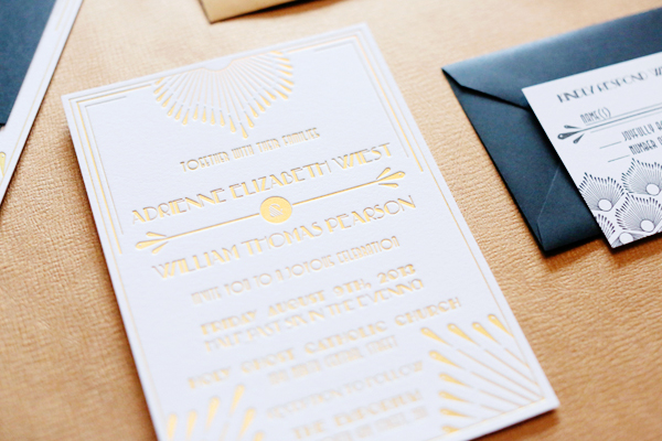 Gold Foil Art Deco Wedding Invitations 4th Year Studio2 Adrienne + Wills Glamorous Gold Foil Art Deco Wedding Invitations